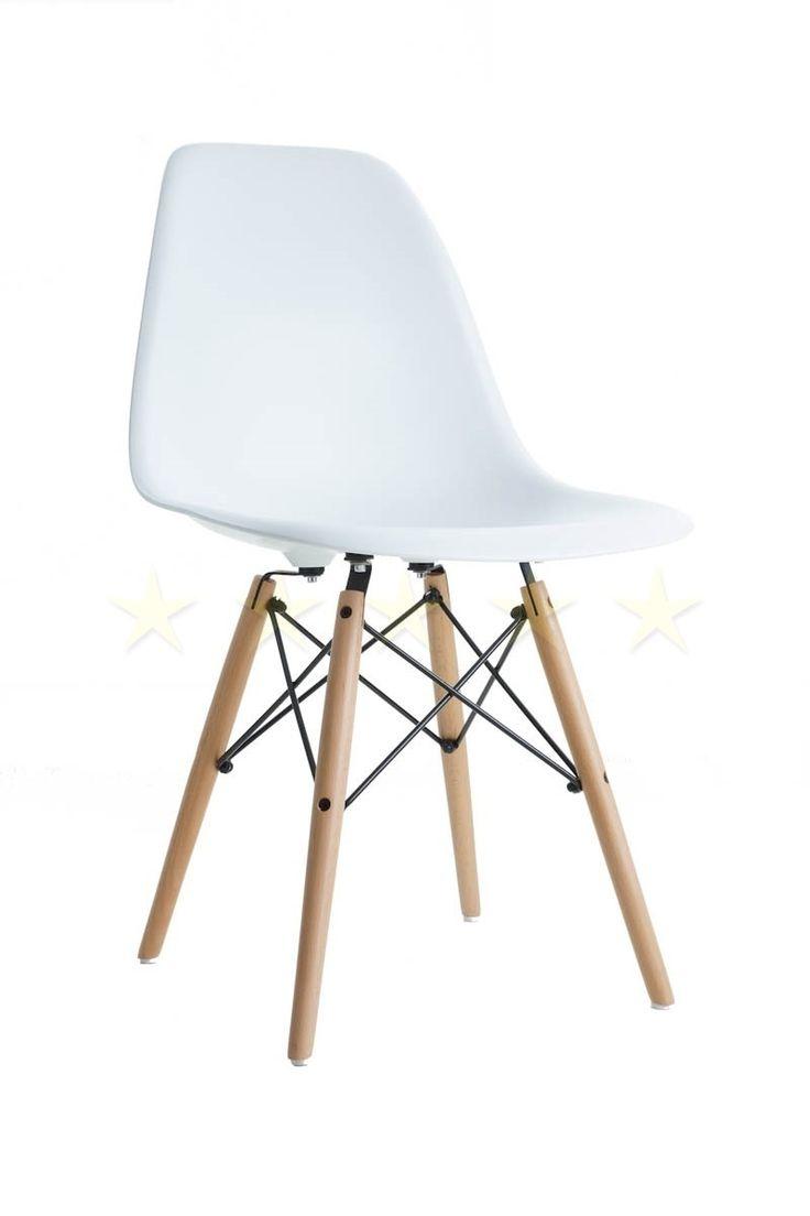 Charles Eames Style DSW Eiffel Stuhl Plastik Weiss