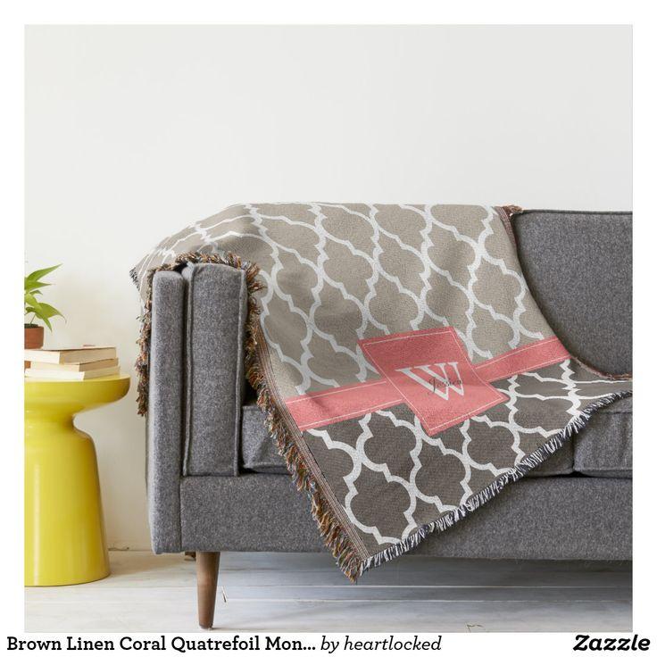 Brown Linen Coral Quatrefoil Monogram Pattern Throw Blanket #monograms #blankets #decor #coral #quatrefoil