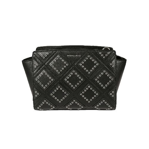 Medium Diamond Grommet Selma Shoulder Bag from Michael Michael Kors: Black Medium Diamond Grommet Selma Shoulder Bag with silver tone hardware, interior logo, jacquard lining, one-zip and two slit pockets and key clip.