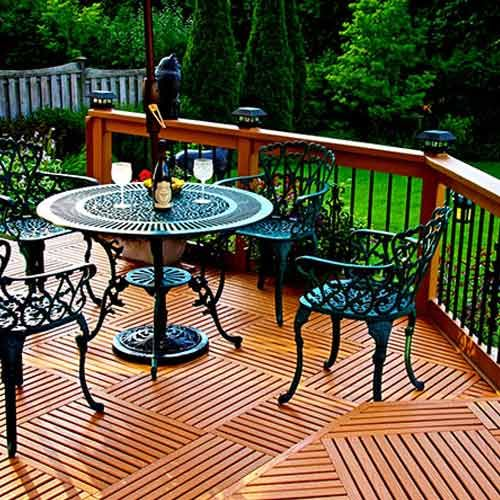 Outdoor PVC Deck Tiles will not absorb moisture and create a modern look with minimal maintenance