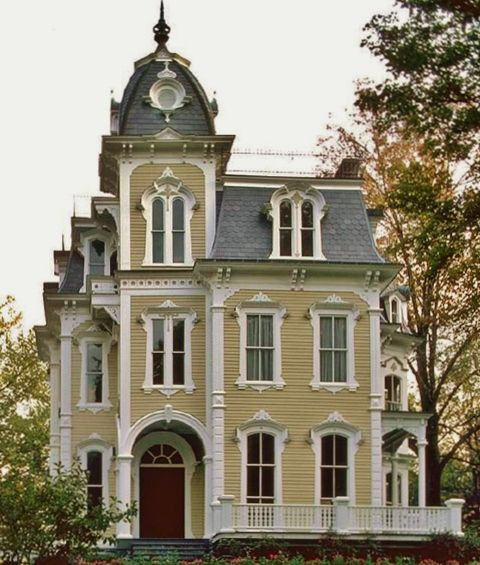 Isn't this a stately old house?  Croff's Villa in Rhinebeck NY, built in 1875.  I love the body color and gray roof, and white is ONE good accent color but the architectural detail of the house could use some more color.  Would love to be in the top room of the tower.