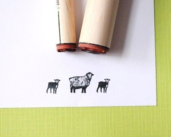 Sheep and Lamb Rubber Stamp Set by norajane on Etsy, $6.00