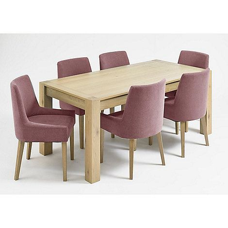 Debenhams Oak Turin Fixed Top Table And 6 Purple Scoop Back Chairs