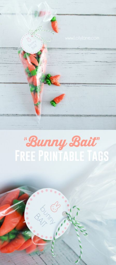 Bunny bait printable Easter tags