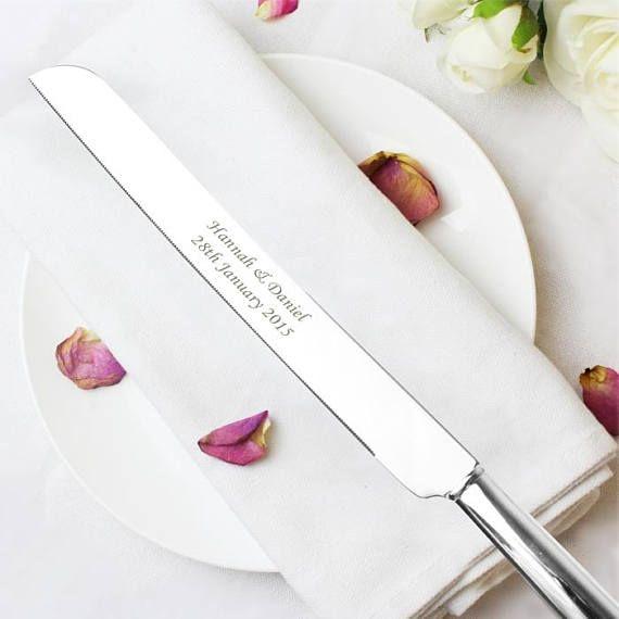 Elegant Personalisierte Tortenmesser Hochzeit Messer Silber Platte