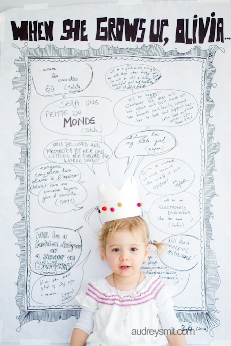 darling idea for toddlers- I would write down quotes about what she wants to be when she grows up and add them to a poster.  My six year old still says hilarious things about this subject every day!