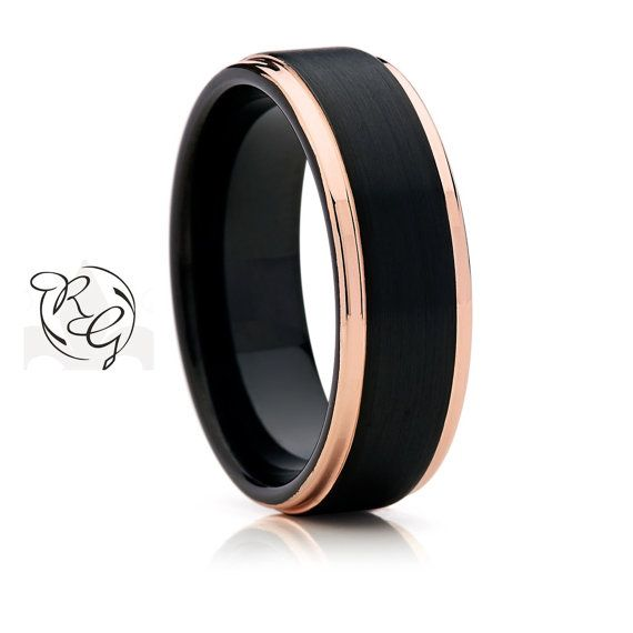 Two Tone Black With Rose Gold Tungsten Mens Wedding BandTungsten BandWedding RingTungsten Unisex Band Anniversary Ring