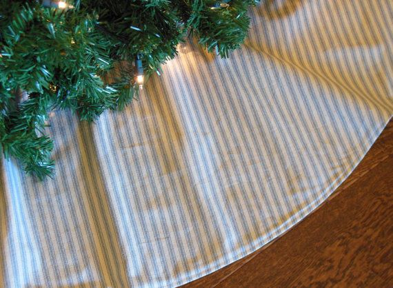 Blue Stripe Christmas Tree Skirt, Farmhouse Tree Skirt, Primitive Tree Skirt, Blue Ticking Tree Skirt, Country Tree Skirt, Xmas Tree Skirt