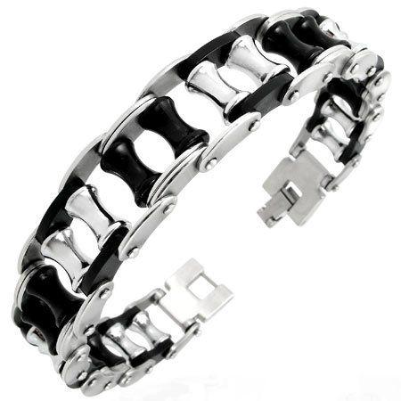 #Bracelets, #Jewelry Edelstahl Kautschuk Herren Armband AB-DBQ004 #Bracelets @ BrightJewelryStore.