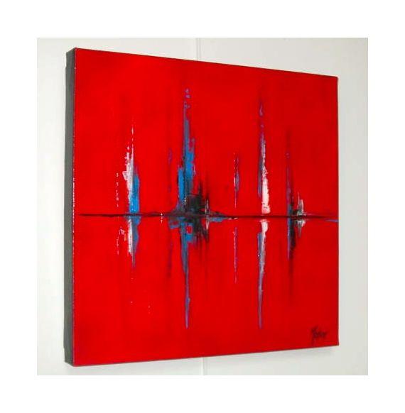TABLEAU PEINTURE REFLETS ROUGE MER ABSTRAIT Abstrait Peinture a l'huile  - REFLETS ROUGES