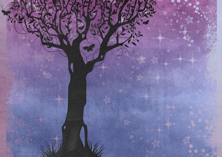 Silhouette, Tree, Butterfly, Purple, Sky
