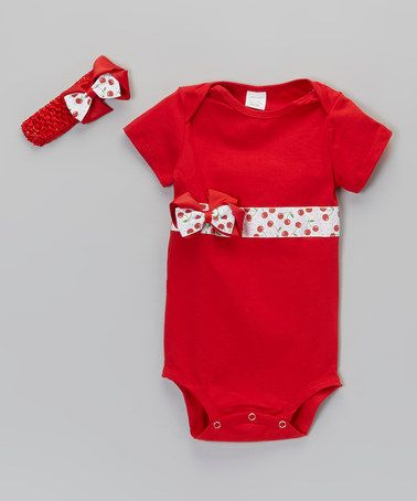 Take a look at this Red & White Berry Bodysuit & Headband - Infant & Toddler by Fairytales & Fantasies on #zulily today!