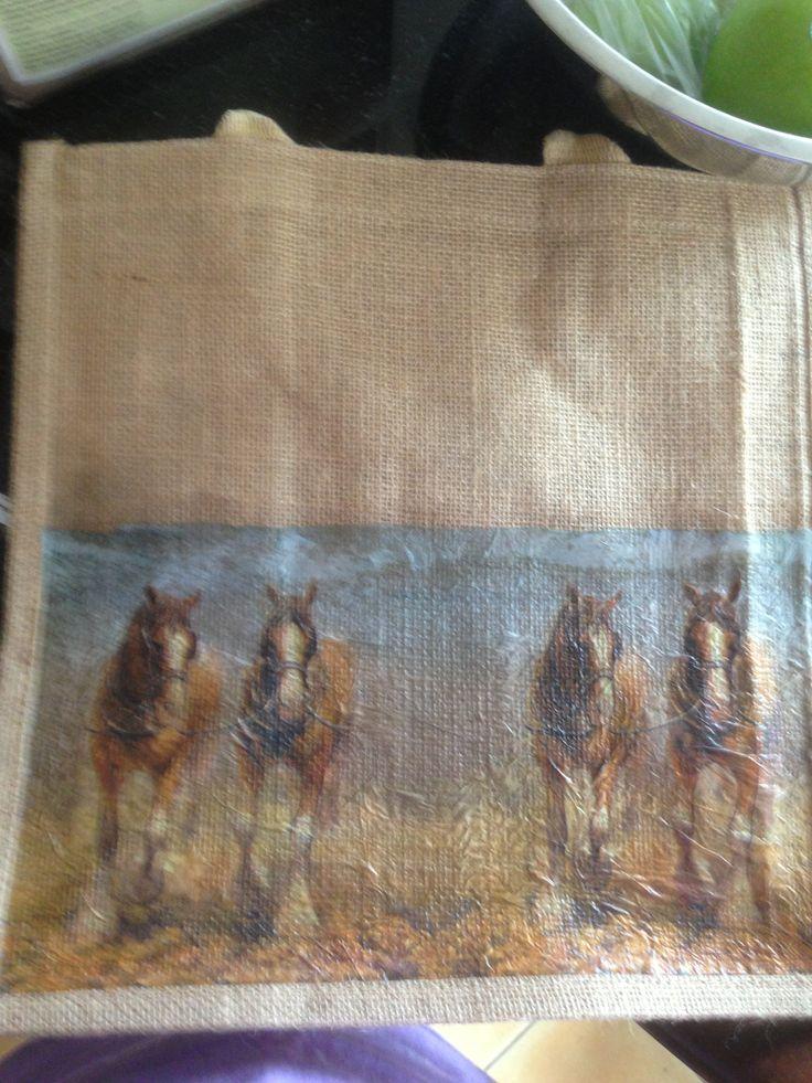 Hessian shopping bag - working horses