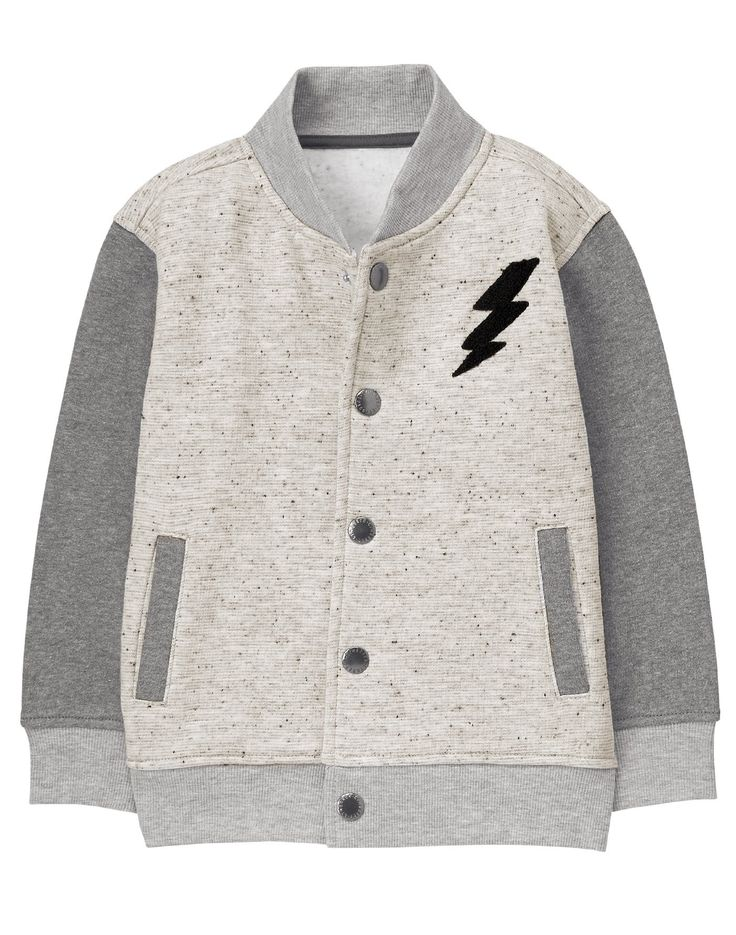 Gymboree Little Boys' Bomber Jacket, Multi, XS. Snap button front. Front welt pockets. Features appliques with embroidery. Super soft fleece lining.