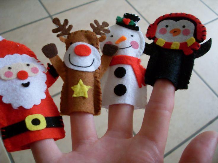 Set of 4 Christmas Felt Finger Puppet Toys.  Penguin, Snowman, Reindeer & Santa.  Hand Made.  For children over 36 months / 3 years. $10.00, via Etsy.