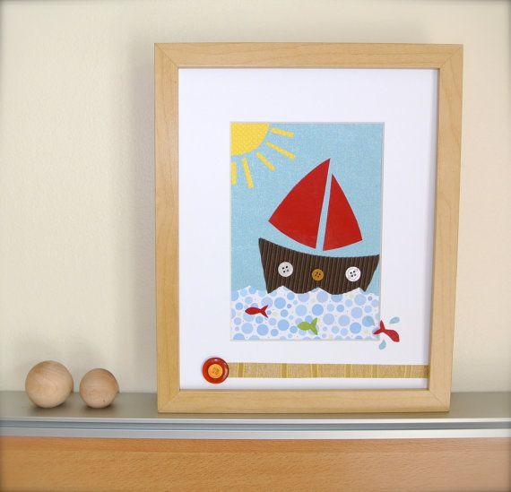 Nautical Wall Art Red Sailboat Nursery Art