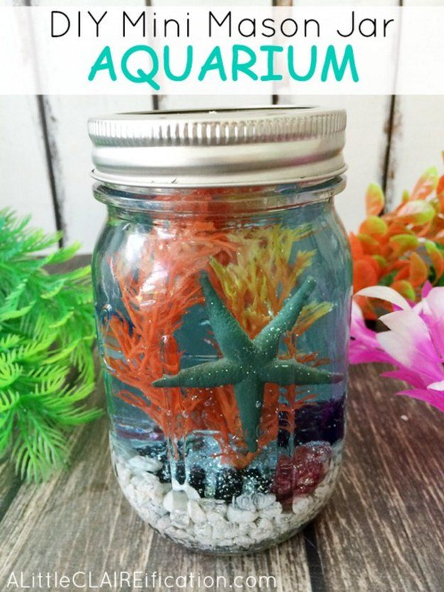 Mini Mason Jar Aquarium | Fun and Cute Mini Mason Jar Crafts | Creative Home Decor Ideas, Wedding Favors, Makeup Organizers & more! by DIY Ready at http://diyready.com/23-diy-crafts-with-mini-mason-jars/