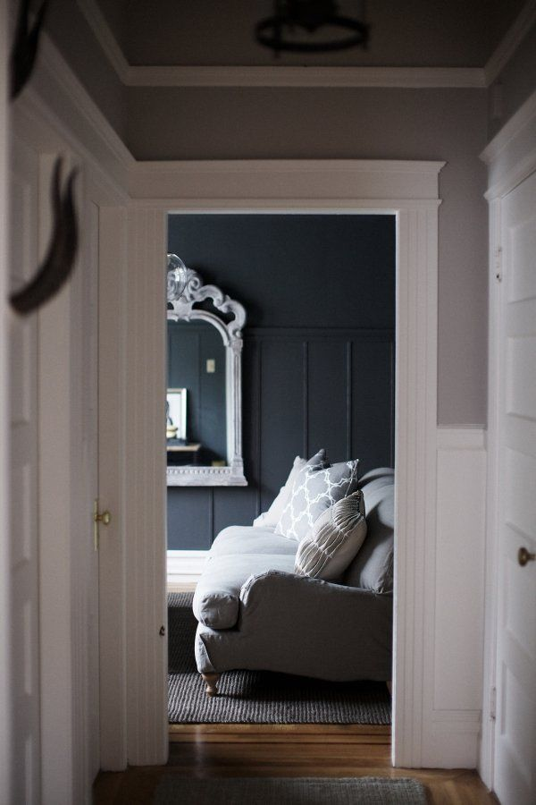 White Trim Grey Walls Dark Midnight Blue Room Decor
