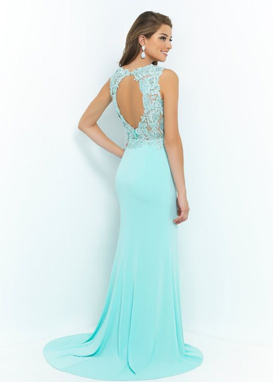 High Illusion Neck Aquamarine Beaded Lace Appliques Prom Dress 2015