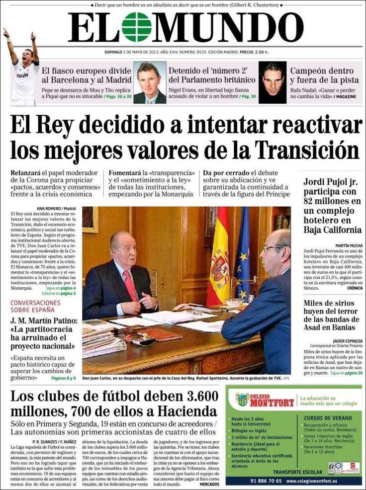 Los Titulares y Portadas de Noticias Destacadas Españolas del 5 de Mayo de 2013 del Diario El Mundo ¿Que le parecio esta Portada de este Diario Español?