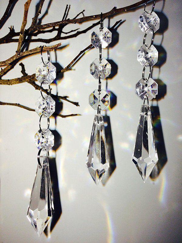 60x Acrylic Crystal Hanging Decorations Garland Bead Strands Wedding Party Decor Hohiya