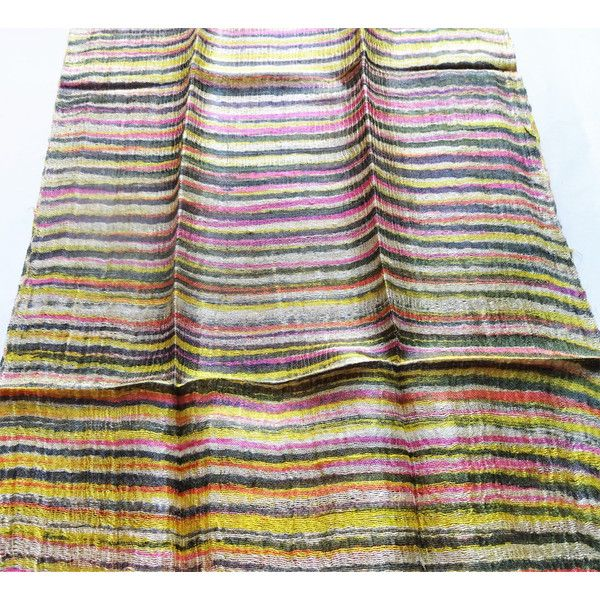 Striped Silk Scarf Hand Dyed Handwoven Natural Pure Raw Silk Wedding Accessories Light Weight Batik Silk Scarf Handmade Wedding Gift For Her (€15) found on Polyvore featuring women's fashion, accessories, scarves, batik scarves, lightweight scarves, silk shawl, pure silk scarves and silk scarves