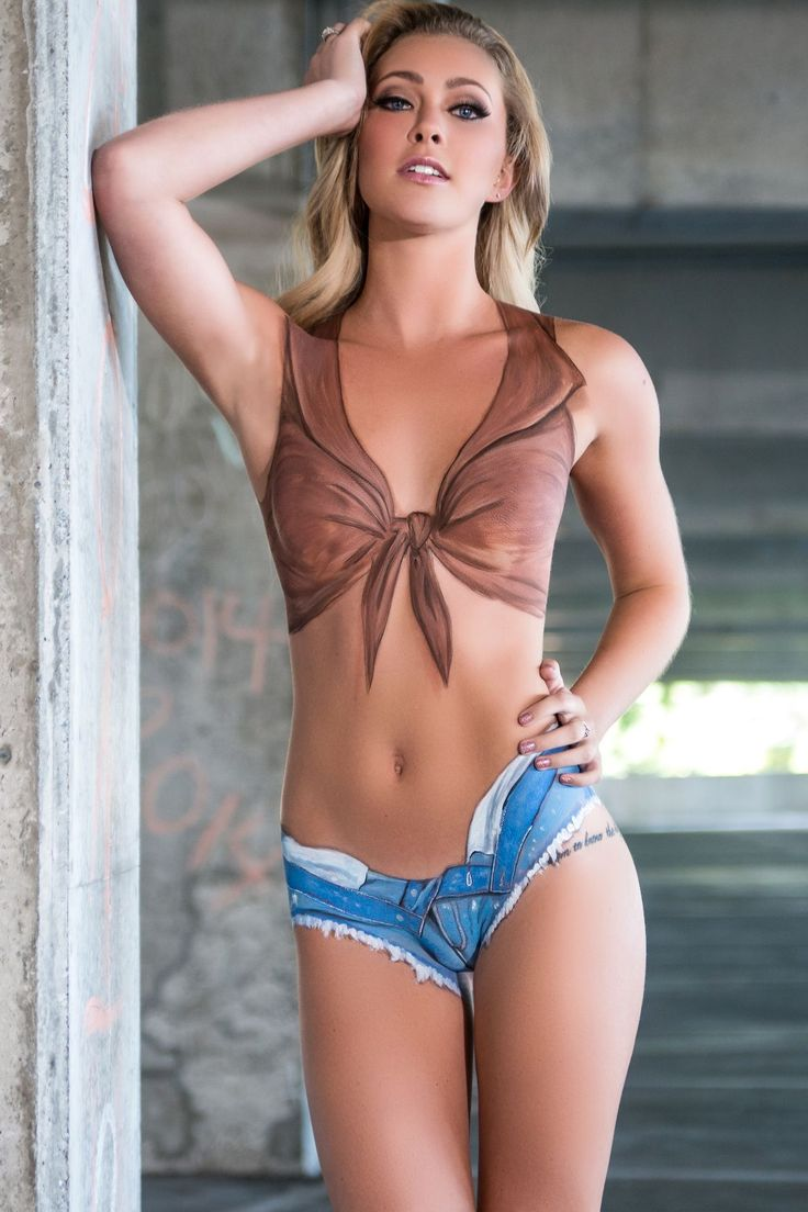 Denim Shorts  Tied Blouse Body Art  Cool Body Piant -2953