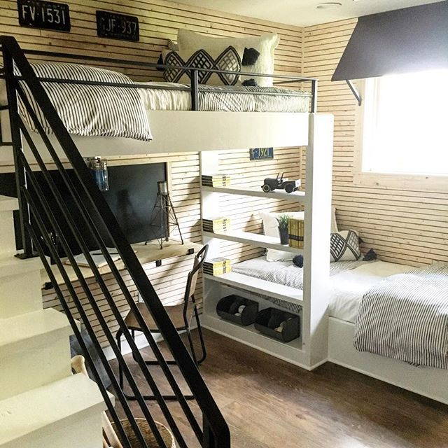 I love the mix of metal, raw wood, and white in this young boy's room from last weeks #fixerupper @hgtv