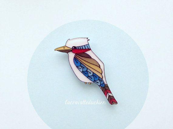 Bird brooch, Illustrated kookaburra bird, animal bird jewelry