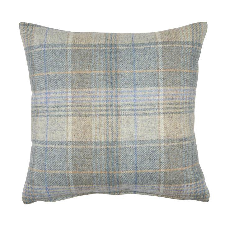 Cranbourne Duck Egg Check Wool Cushion at Laura Ashley
