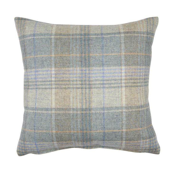 Cranbourne Duck Egg Check Wool Cushion at Laura Ashley