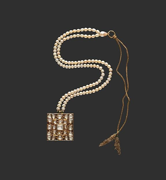 Square Diamond Pendant on Pearl Necklace Object Name: Necklace Date: late 18th century Geography: India, Deccan, Hyderabad Culture: Islamic Medium: Diamonds, pearls