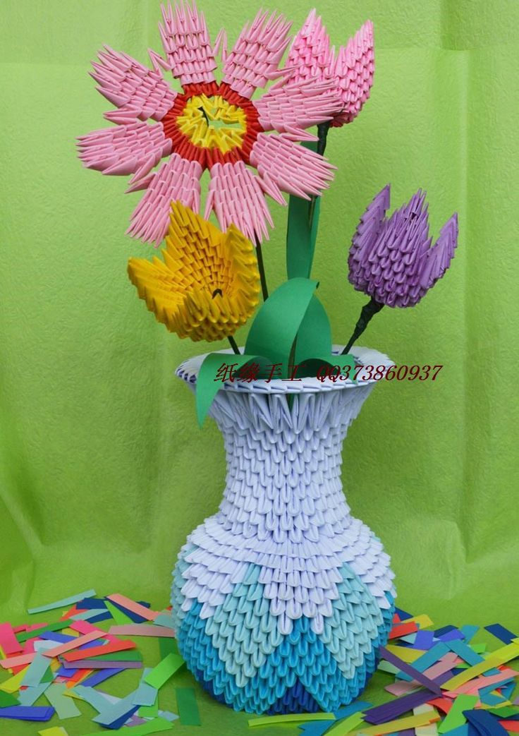 The 1084 best origami images on pinterest paper crafts papercraft hot sale flower vase handmade by 3d origami paper child craft paper kits diy mightylinksfo
