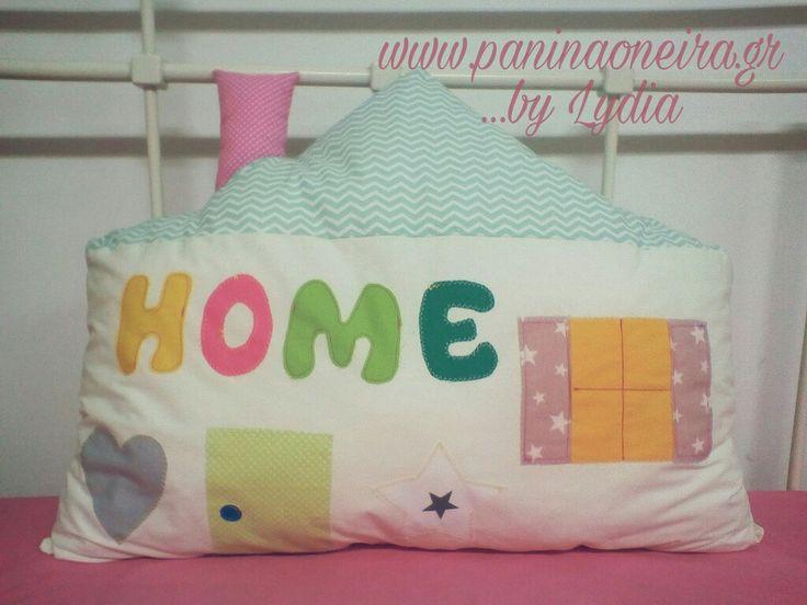 Handmade house pillow for baby's room, made of cotton fabrics!! @paninaoneira