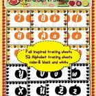 "Enjoy this season with 26 colorful alphabet tracing worksheets and 26 black ink saving tracing sheets. They are decorated with fall leaves as the page border and pumpkins with the letter they will be tracing showing inside of it. These are pdfs. When you print them make sure you check the option ""fit"" this way the printer will not crop the border of the page."