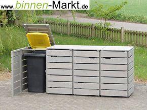 Mülltonnenverkleidung Holz, Grau / Mülltonnenbox Holz, Grau