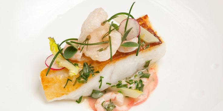 Turbot with prawns, braised fennel and borage by Marcus Eaves