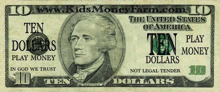 Printable Play Money 10 Dollar Bills – #bills #Dol…