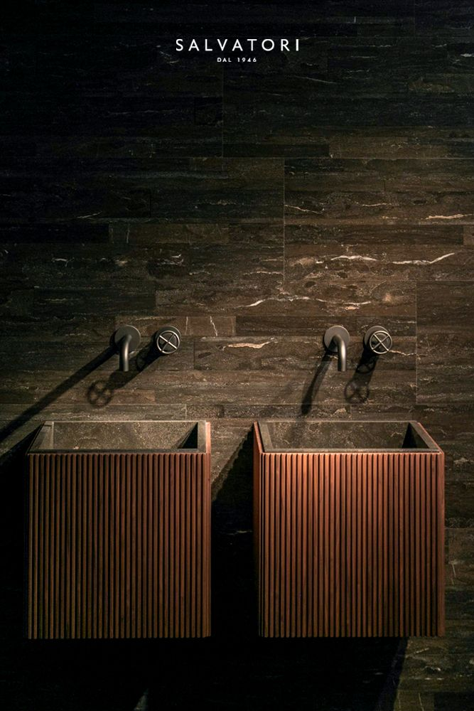 Fantini + Salvatori Stone have collaborated to create Fontane Bianche, designed by Elisa Ossino. The sleek and modern fixture is at home in the contemporary bathroom space.