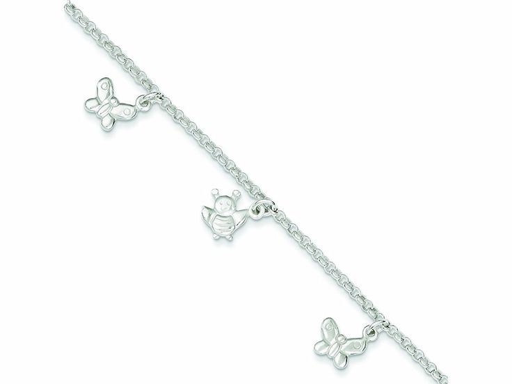 Sterling Silver Polished Butterflies and Bumble Bee Anklet >>> You can find more details by visiting the image link. (This is an Amazon Affiliate link and I receive a commission for the sales)
