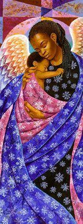 oInvierno El ángel de la guarda de invierno sostiene a un niño en un abrazo…