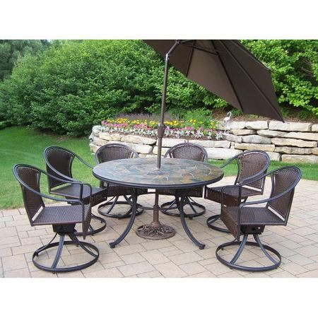Oakland Living Tuscany Stone Art Dining Set With Umbrella