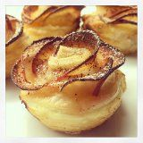 Apple Roses (puff pastry, red delicious, apricot, cinnamon)