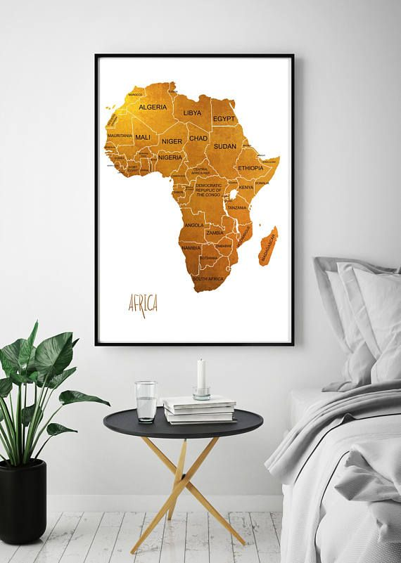Map Wall Decor Africa Map Print Gold Bronze Bed Room Decor