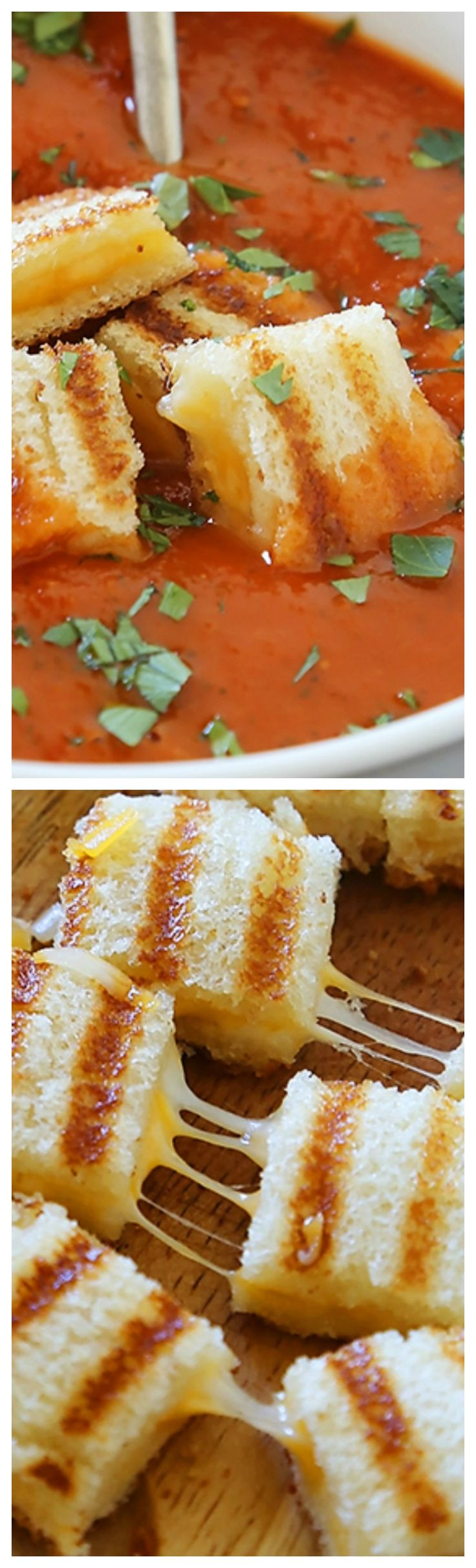 Tomato-Basil Soup with Grilled Cheese Croutons ~ This hearty, healthy tomato basil soup is easily made in under an hour. Both kids and adults will rave for this one! Top with crispy, gooey grilled cheese croutons and serve with a green salad for a delicious weeknight dinner.