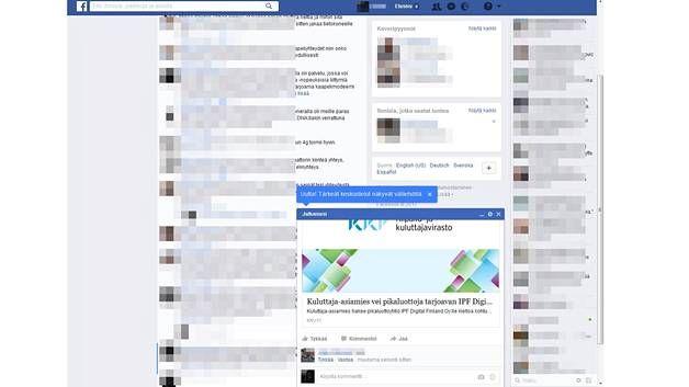 Uusi Julkaisusi-ikkuna ponnahtaa näyttävästi Facebookin selainversion alareunaan.