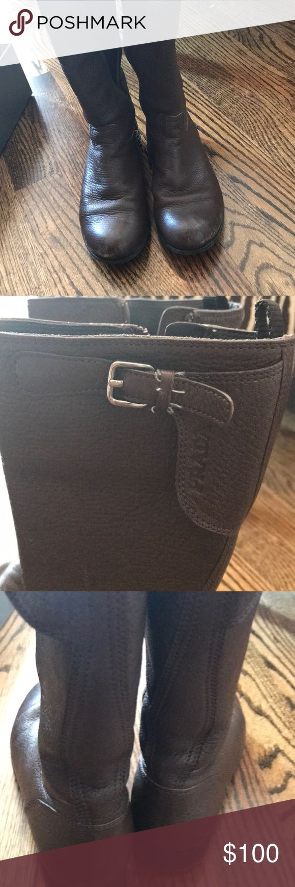 Little girls Prada dark brown riding boots Dark brown, excellent condition, riding boots size 29, still have the box Prada Shoes Boots