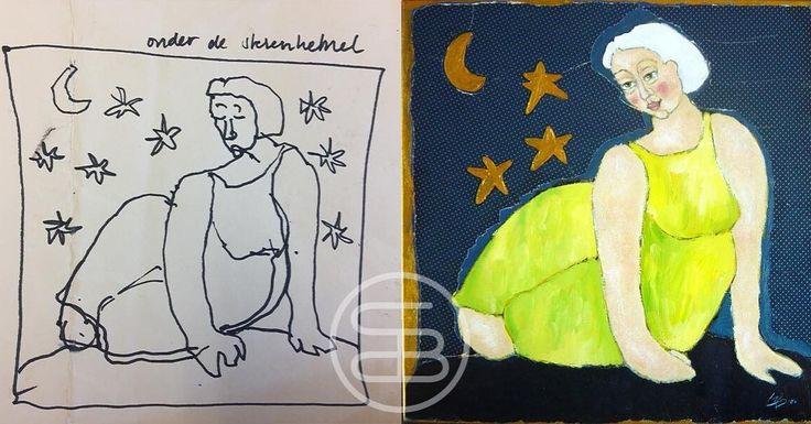 Sketch and painting of 'woman between the stars' . - Schets en schilderij van 'Vrouw tussen de sterren'. #art #dutchart #painting #kunst #schilderij  #picasso #matisse #klimt