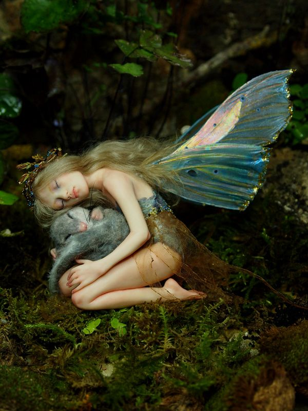 Fairy with mouse Handsculpted OOAK Art Doll Fairy by NenufarBlanco
