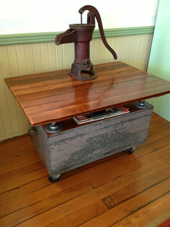 Reclaimed Wood, Coffee Table, Metal, Casters, Galvanized Pipe, Barn Wood  Industrial Furniture
